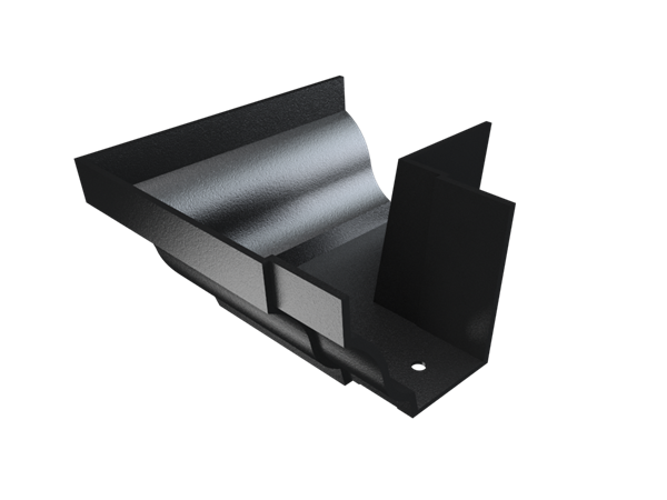 """5""""x4"""" Moulded Ogee Gutter Ext 90° Angle - Black"""