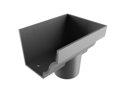 """6""""x4"""" Moulded Ogee Gutter Dropend Outlet 3"""" Ext"""
