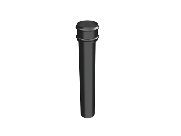 """4"""" Round Rainwater Pipe x 2FT Without Ears - Black"""