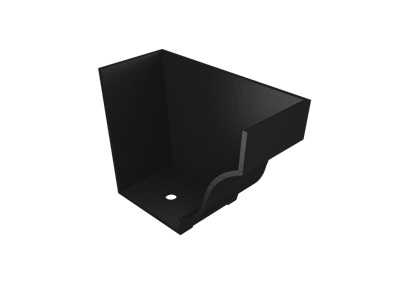 """5""""x4"""" Moulded Ogee Gutter Int Stopend - R/H - Black"""