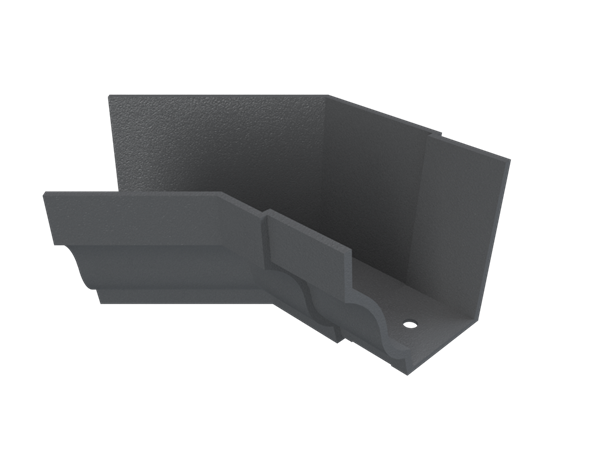 """5""""x4"""" Moulded Ogee Gutter Int 135° Angle"""