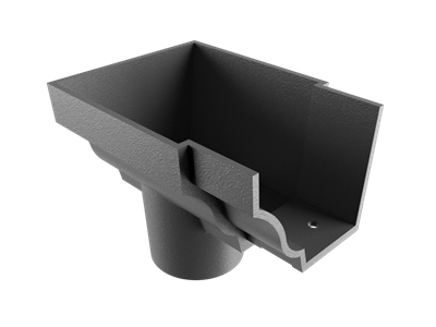 """6""""x4"""" Moulded Ogee Gutter Dropend Outlet 3"""" Int"""