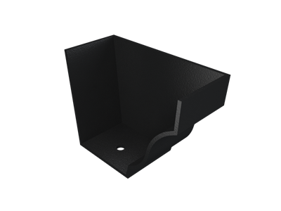 """5""""x4"""" Moulded Ogee Gutter Ext Stopend - R/H - Black"""