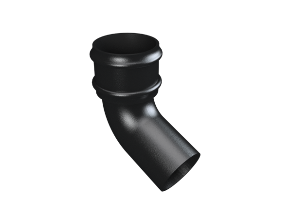 """3"""" Round Rainwater 112.5° Bend Without Ears - Black"""