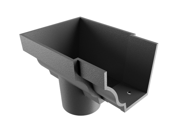 """5""""x4"""" Moulded Ogee Gutter Dropend Outlet 3"""" Int"""