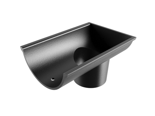"""4.5"""" Beaded Half Round Gutter Dropend Outlet 2.5"""" Int-Black"""