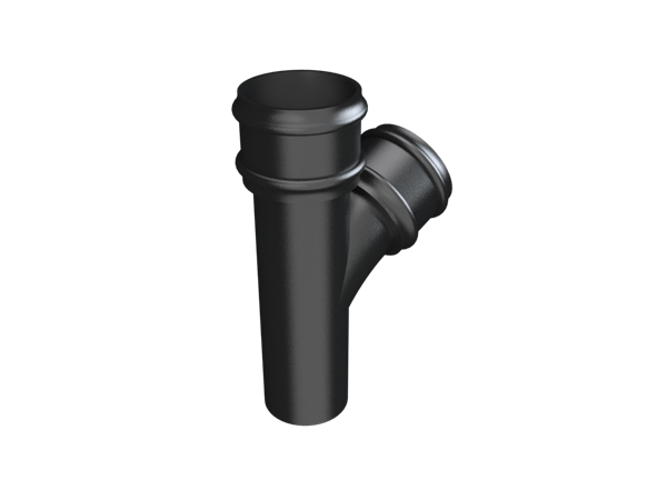 """3"""" Round Rainwater 112.5° Branch Without Ears - Black"""