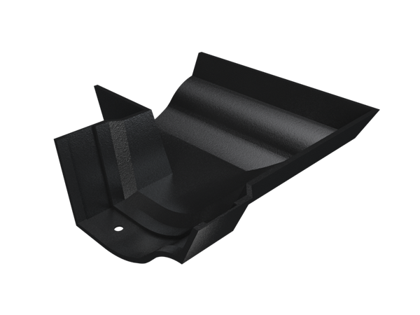 """4.5"""" Vict Ogee Gutter Ext 90° Angle - Black"""