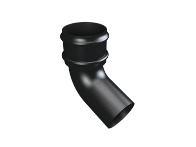 """4"""" Round Rainwater 112.5° Bend Without Ears - Black"""