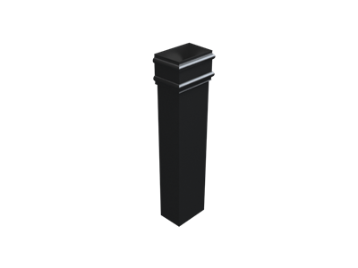 """4""""x3"""" Rectangular Rainwater Pipe x 3FT Without Ears - Black"""