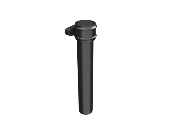 """2.5"""" Round Rainwater Pipe x 2FT With Ears - Black"""